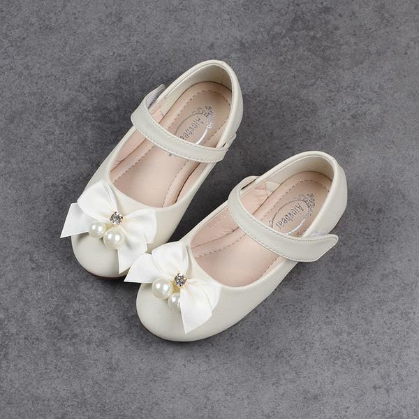 Ragazze Punta chiusa Ballet Flat Pelle microfibra Heel piatto Ballerine Scarpe Flower Girl con Bowknot Perla imitazione Strass Velcro