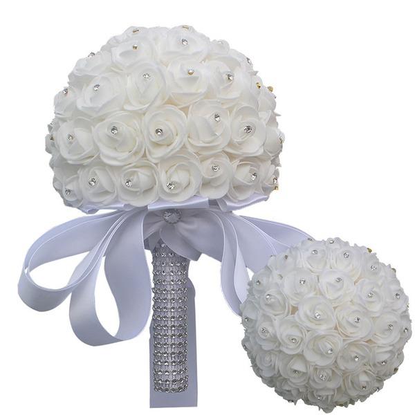 Round Satin/Rhinestone Flower Sets (Sold in a single piece) -