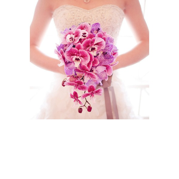 Anmutig Kaskade Stoff Brautsträuße/Brautjungfer Blumensträuße -