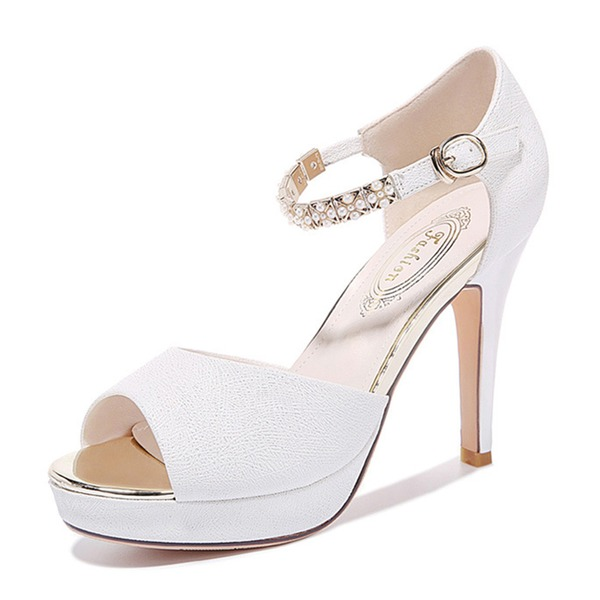 Women's Leatherette Spool Heel Peep Toe Sandals
