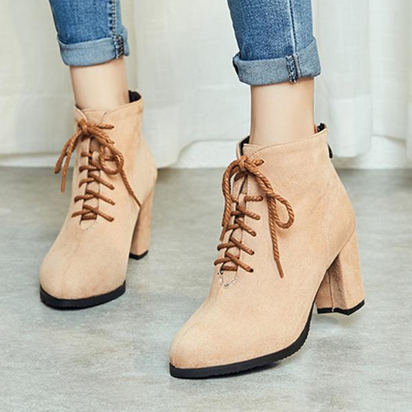 Kadın Süet İnce Topuk Bot Ayak bileği Boots Ile Bağcıklı ayakkabı