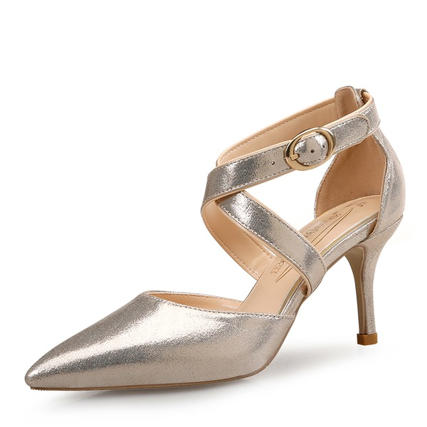 Frauen PU Stöckel Absatz Sandalen Absatzschuhe Geschlossene Zehe mit Hohl-out Gummiband Schuhe