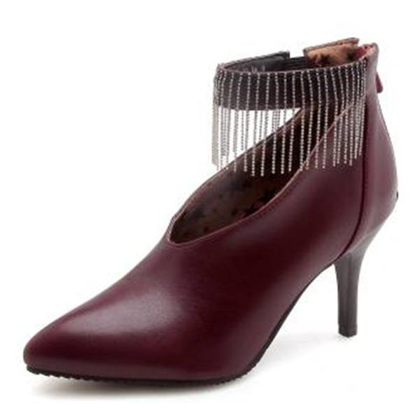 Femmes PU Talon stiletto Escarpins Bout fermé avec Chaîne Tassel chaussures