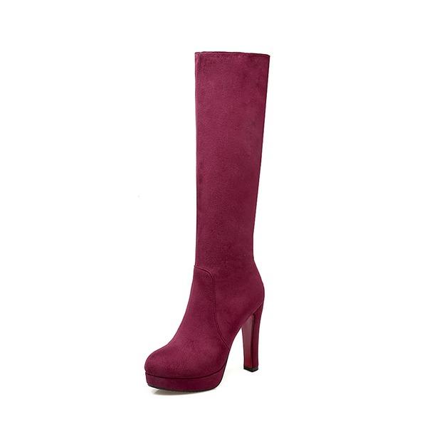 Vrouwen Suede Chunky Heel Pumps Plateau Laarzen Knie Lengte Laarzen met Rits schoenen