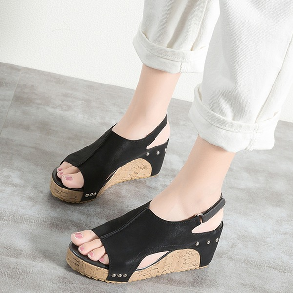 Women's PU Wedge Heel Sandals Wedges Peep Toe With Rivet shoes