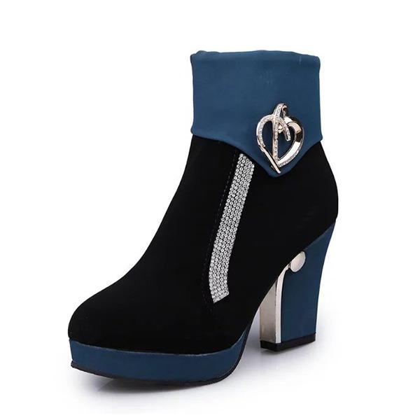 Donna Camoscio Tacco spesso Stiletto Piattaforma Stivali Stivali altezza media con Strass Cerniera scarpe