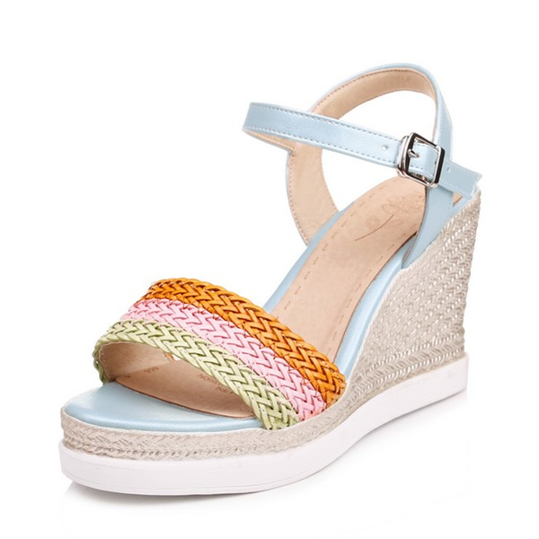 Women's PU Wedge Heel Sandals Wedges Peep Toe Slingbacks With Braided Strap shoes