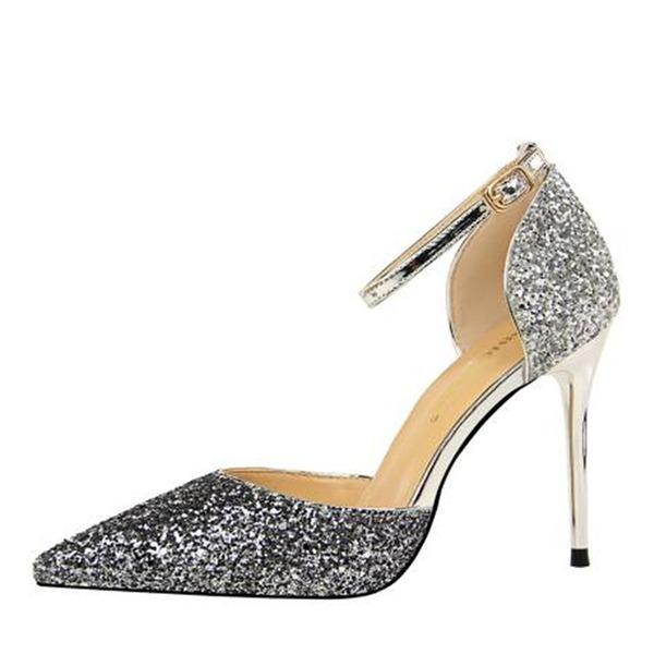 Dla kobiet Byszczący brokat Obcas Stiletto Sandały Czólenka Zakryte Palce Z Cekin Łączona obuwie