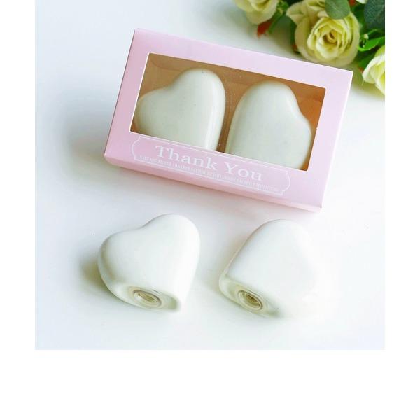 "Heart Shaped/Simple/""Sweet Heart"" Heart Shaped Ceramic Salt & Pepper Shakers (Set of 2)"