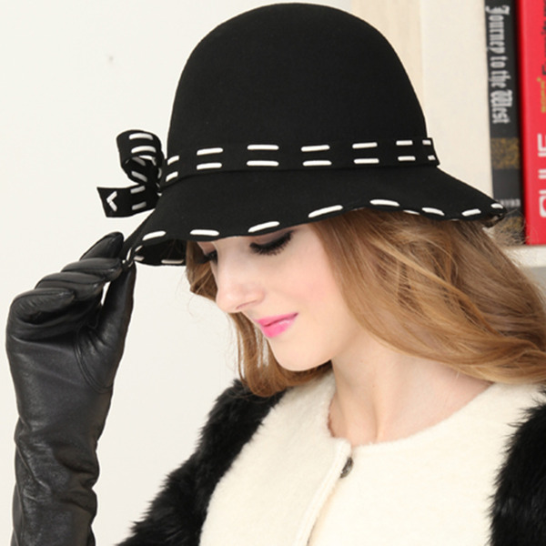 Ladies' Elegant Wool With Bowknot Bucket Hats