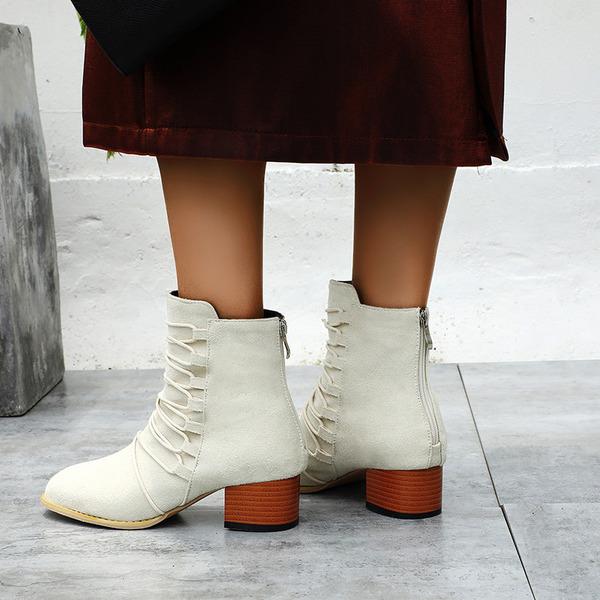 Vrouwen PU Chunky Heel Enkel Laarzen met Rits Vastrijgen schoenen