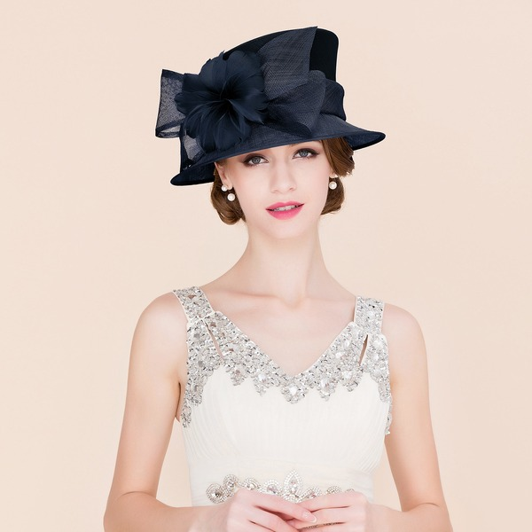 Senhoras Charmosa/Clássico/Elegante Cambraia com Pena Chapéu de Coco / Cloche de Chapéu/Kentucky Derby Bonés