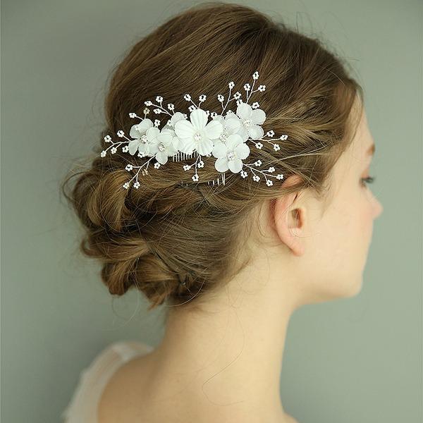 Dames Prachtige Zijde Bloemen Kammen & Haarspeldjes met Strass (Verkocht in één stuk)