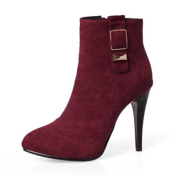 Vrouwen Suede Stiletto Heel Pumps Laarzen Half-Kuit Laarzen met Gesp Rits schoenen