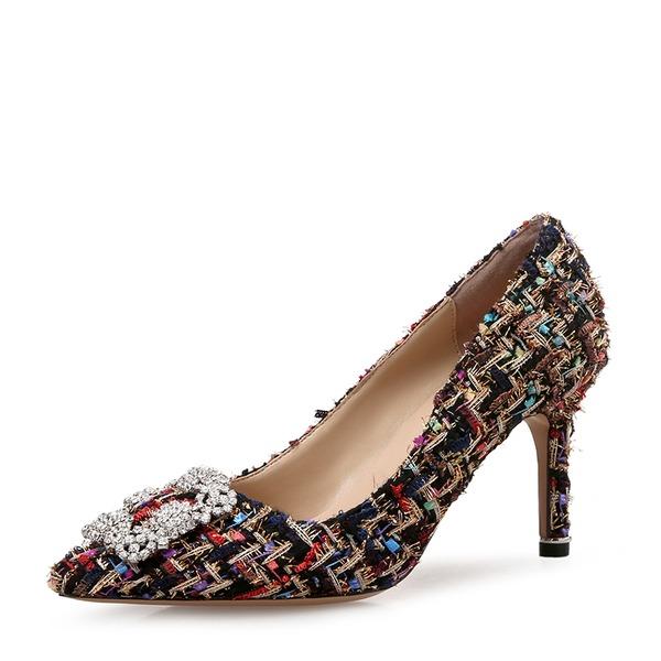Donna Panno Tacco a spillo Stiletto Punta chiusa con Fibbia scarpe