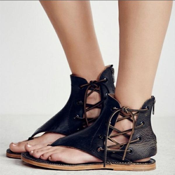 Naisten PVC Matalakorkoiset Heel Sandaalit Matalakorkoiset Peep toe jossa Vetoketju Nauhakenkä kengät