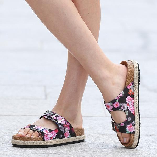 Femmes Tissu Talon plat Sandales Chaussures plates À bout ouvert Escarpins Chaussons avec Autres chaussures