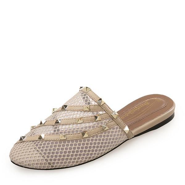 Vrouwen Kunstleer Flat Heel Closed Toe Slippers met Klinknagel schoenen