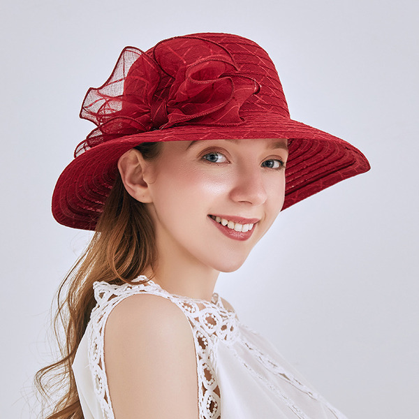 Ladies ' Elegant/Enkle Linned med Bowknot Strand / Sun Hatte/Tea Party Hats