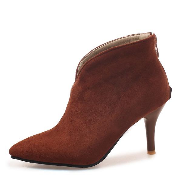 Donna Camoscio Tacco a spillo Stiletto Punta chiusa Stivali Stivali alla caviglia con Cerniera scarpe