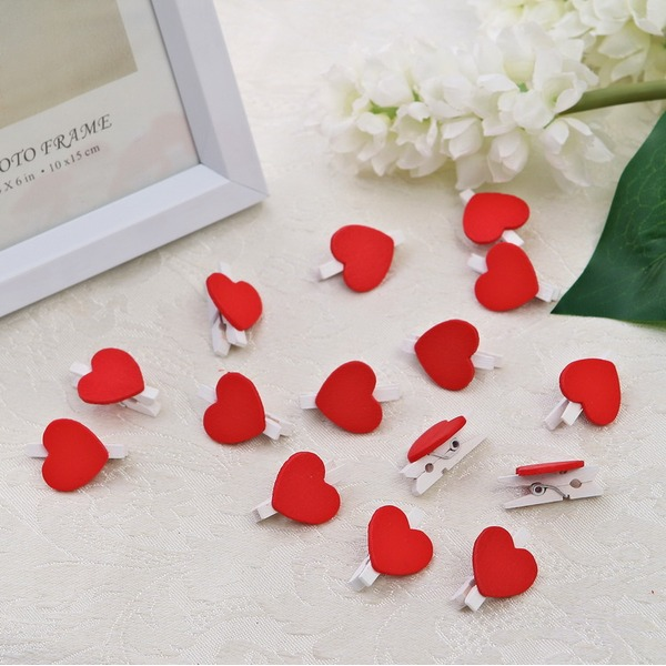 Belle Conception de coeur En bois Clip (Lot de 50)