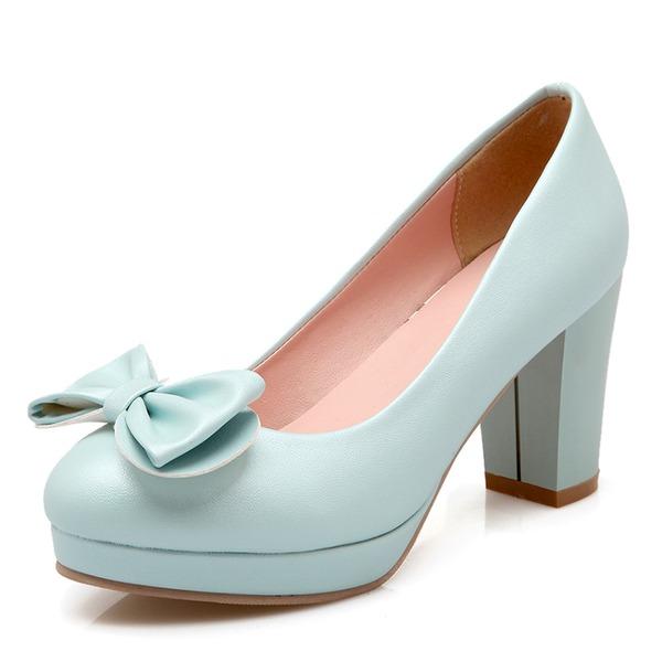 Donna Similpelle Tacco spesso Stiletto Piattaforma Punta chiusa con Bowknot scarpe