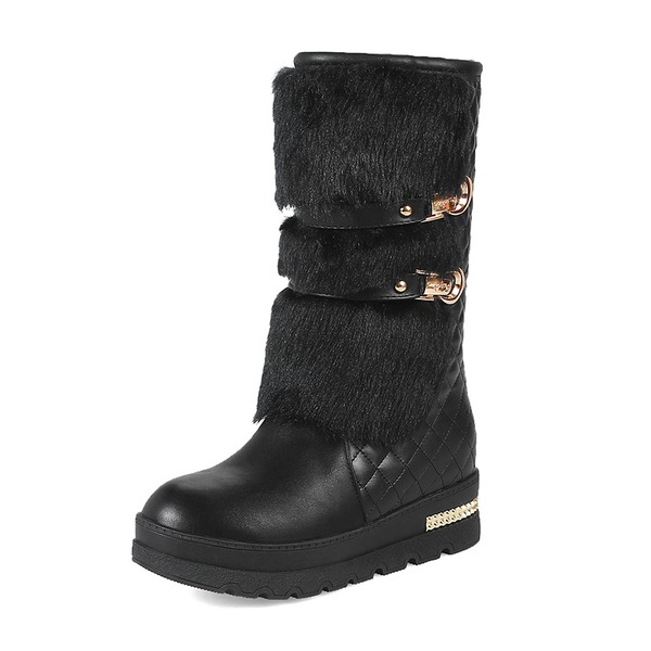 Women's Leatherette Wedge Heel Closed Toe Boots Mid-Calf Boots With Rivet Buckle shoes