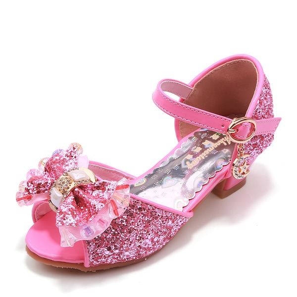 Jentas Titte Tå Leather lav Heel Pumps Flower Girl Shoes med Bowknot Spenne Rhinestone Glitrende Glitter