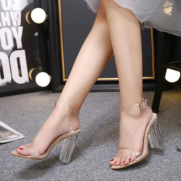 Naisten PVC Piikkikorko Sandaalit Avokkaat jossa Crystal Heel kengät