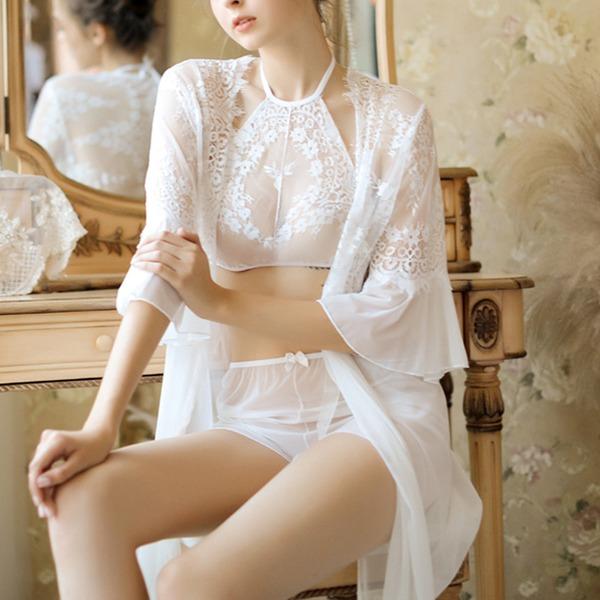 Renda Clássico Feminino pijamas set