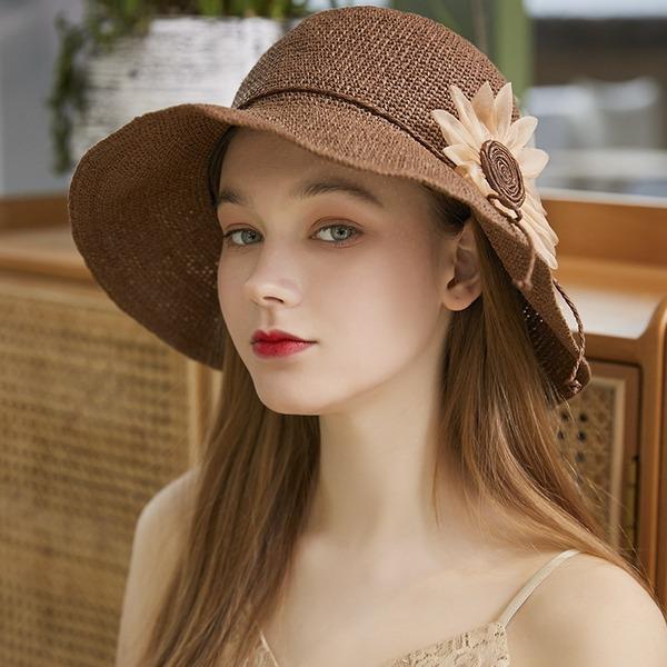 Senhoras Exquisite/Mais quente Ráfia de palha com Flor de seda Chapéus praia / sol/Chapéus do tea party