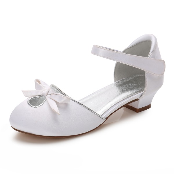 Girl's Round Toe Closed Toe Mary Jane Silk Like Satin Low Heel Flower Girl Shoes With Bowknot Rhinestone Velcro Hollow-out