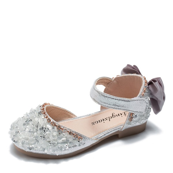 Girl's Round Toe Closed Toe Leatherette Flat Heel Flats Flower Girl Shoes With Bowknot Velcro Crystal