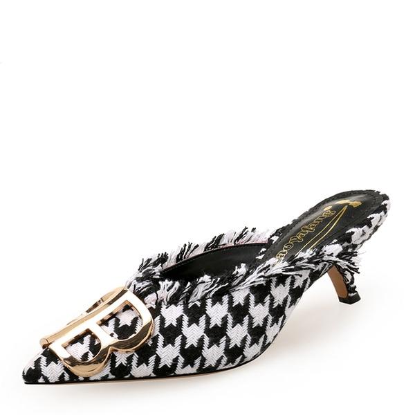 Frauen Stoff Kätzchen Absatz Absatzschuhe Geschlossene Zehe Slingpumps mit Knopf Schuhe