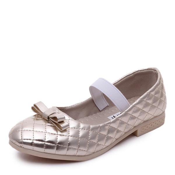 A menina de Toe rodada Fechados imitação de couro Heel plana Sem salto Sapatas do florista com Faixa Elástica