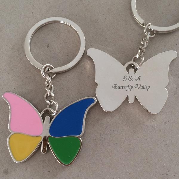 personnalisé Papillon Acier inoxydable/En alliage de zinc Portes-clés (Lot de 4)