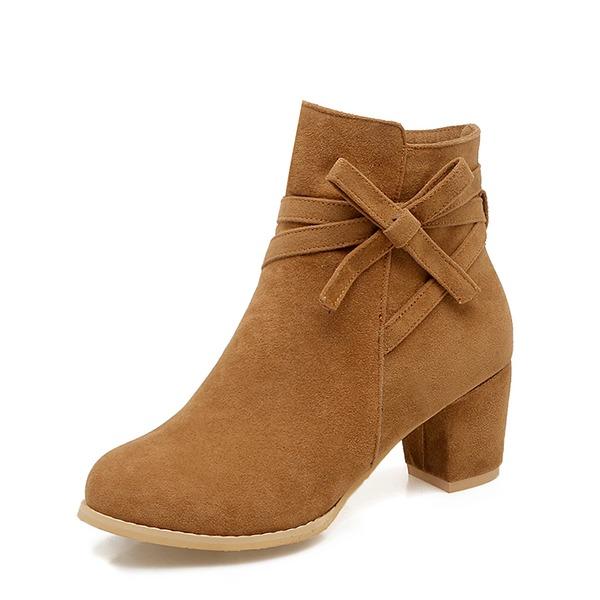 Naisten Mokkanahka Chunky heel Avokkaat Kengät Nilkkurit jossa Bowknot Vetoketju kengät