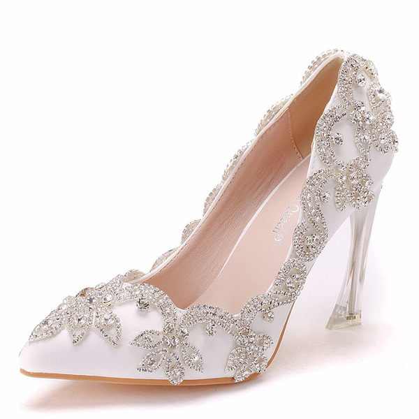 Vrouwen Kunstleer Stiletto Heel Closed Toe Pumps met Strass Stitching Lace