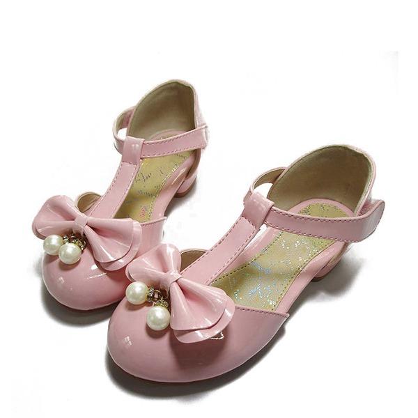 Fille de similicuir talon plat bout rond Chaussures plates avec Bowknot Perle d'imitation Velcro
