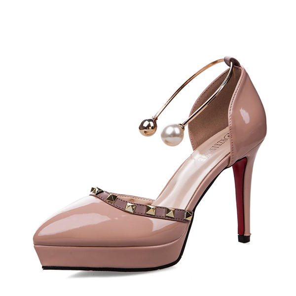 Women's Patent Leather Stiletto Heel Sandals Pumps Platform Closed Toe With Imitation Pearl Buckle shoes