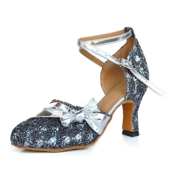 Women's Leatherette Heels Sandals Ballroom With Buckle Hollow-out Dance Shoes