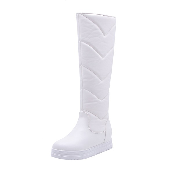 Women's Leatherette Flat Heel Platform Boots Knee High Boots Snow Boots shoes