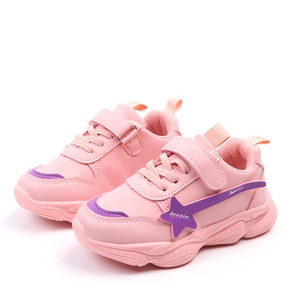 Girl's Round Toe Closed Toe Fabric Flat Heel Flats Sneakers & Athletic With Velcro Lace-up