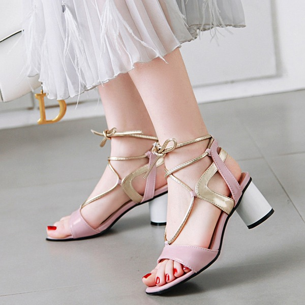 Women's Patent Leather PU Chunky Heel Sandals Pumps Peep Toe Slingbacks With Lace-up shoes