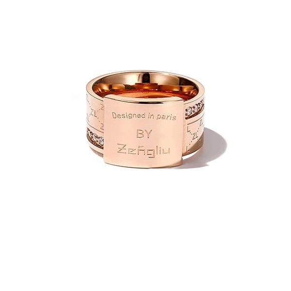 Personalizado Senhoras Mais quente Rose banhado a ouro Gravado Anéis Amigos/Dama de honra/Menina das flores
