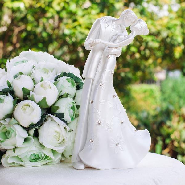 Estatueta Beijo do casal Poliéster/Checa stones Casamento Decorações de bolos