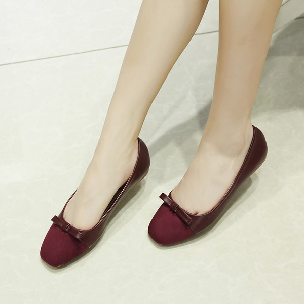 Women's Suede Low Heel Flats Closed Toe With Bowknot shoes