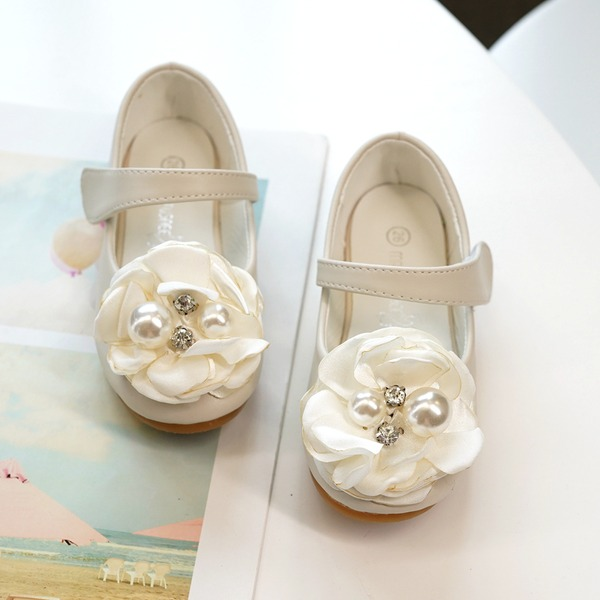 Girl's Mary Jane Microfiber Leather Flower Girl Shoes With Beading Satin Flower Velcro