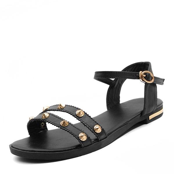 Femmes Vrai cuir Talon plat Sandales Chaussures plates À bout ouvert Escarpins avec Rivet Boucle chaussures