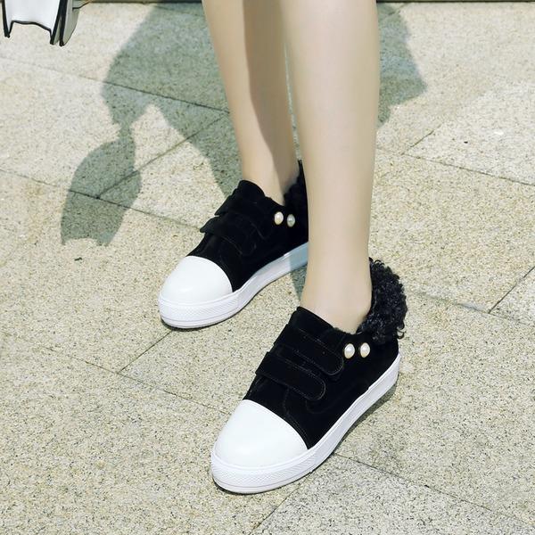 Femmes Suède Talon plat Chaussures plates Bout fermé avec Rivet Velcro chaussures